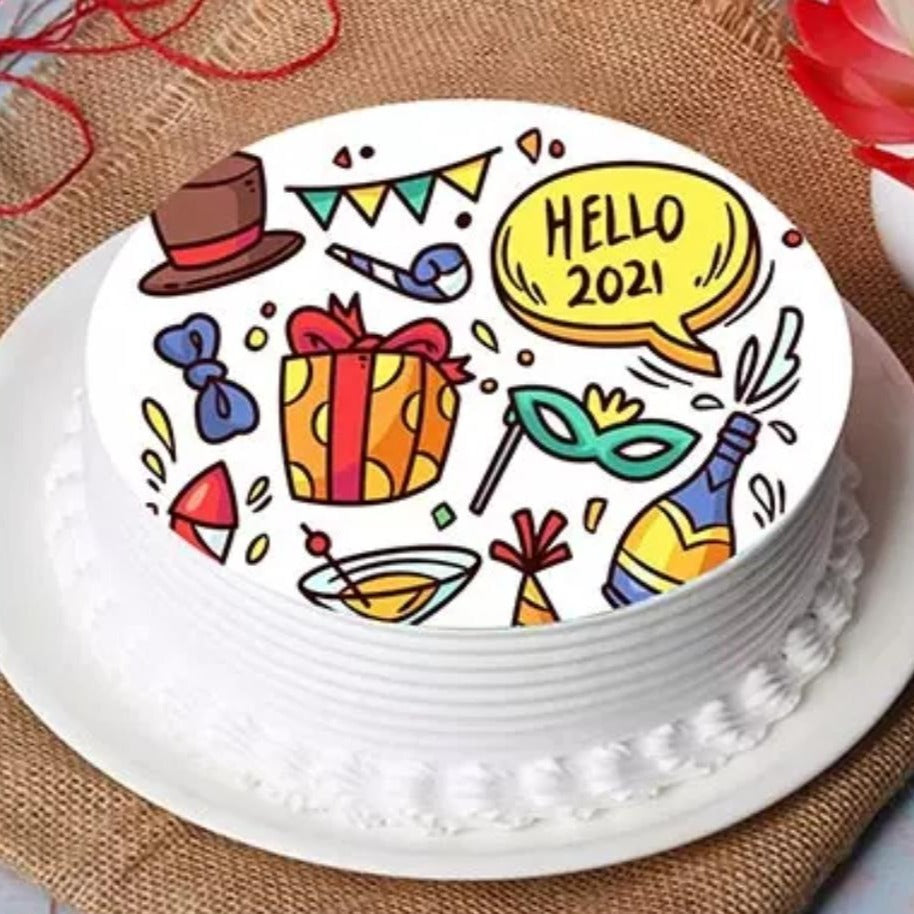 Cake Hello 2021 Doodle Cake - mabrook.me