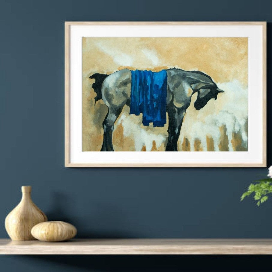 Painting The Horse - Framed Print on Canvas (Print of Original Painting) - mabrook.me
