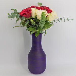 White and Red Roses in a Painted Terracotta Vase - mabrook.me