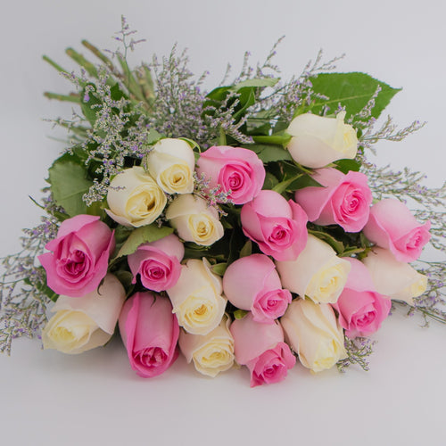 Bunch of Pink & White Roses - mabrook.me