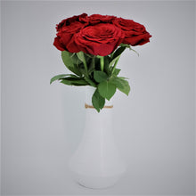 Load image into Gallery viewer, Red Roses in a Painted Terracotta Vase - mabrook.me