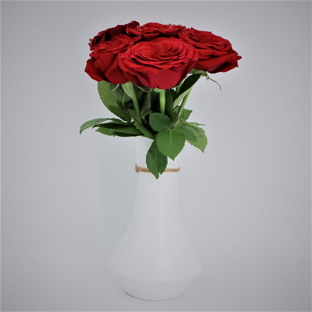 Red Roses in a Painted Terracotta Vase - mabrook.me