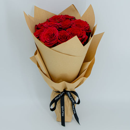 Flowers Bouquet of Red Roses - mabrook.me