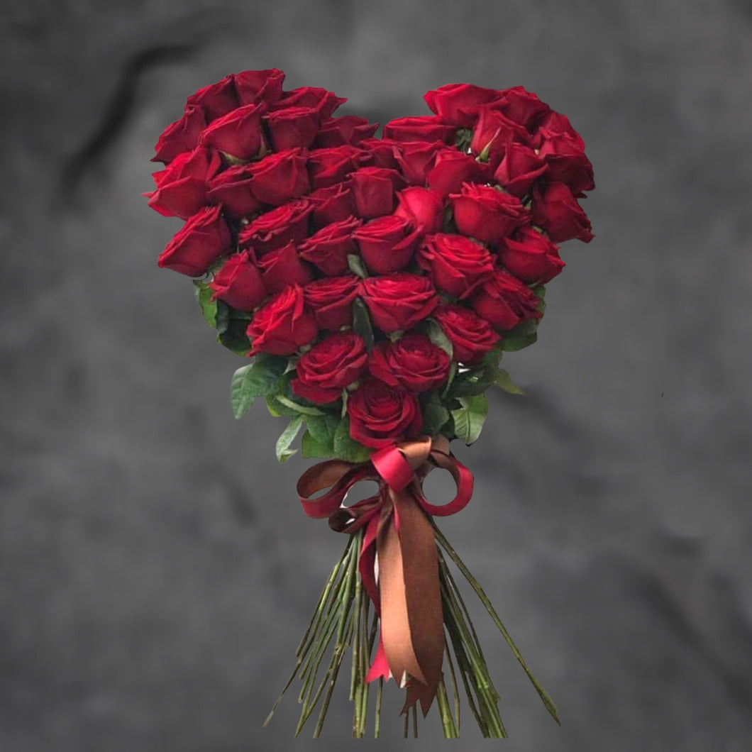 Flowers My Heart in a Bunch - Heart Shaped Red Rose Bouquet - mabrook.me