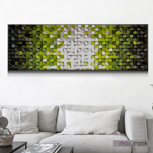 Decor The Forest Sky - 3D Hand Carved & Painted Wooden Wedges Artistic Wall Frame - mabrook.me