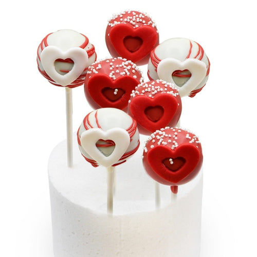 Cake Pops Red & White Hearts Cake Pops - 6 Pcs - mabrook.me