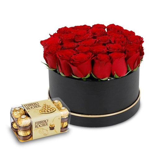 Flowers Box of Red Roses & Ferrero Rocher Chocolates - mabrook.me