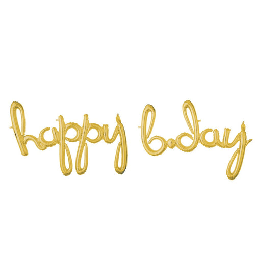 Decor Happy Bday Script Phrase Gold Foil Balloon - mabrook.me