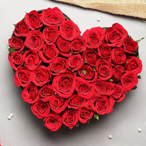 Flowers Love Celebration - Heart Shaped Box of Roses - mabrook.me