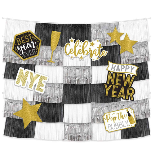 Decor New Years Fringe Backdrop With Cutouts - mabrook.me