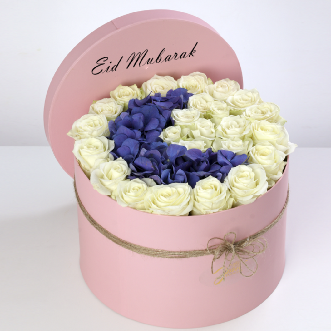Flowers Blissful Ramadan Blue Crescent Flower Box - Eid Special - mabrook.me