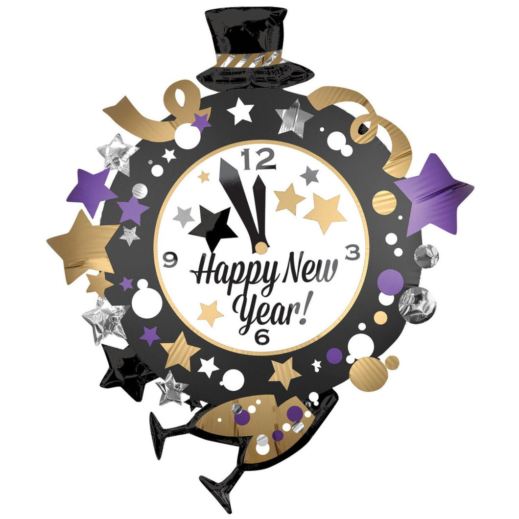 Accessories Happy New Year Clock Super Shape Foil Balloon - mabrook.me