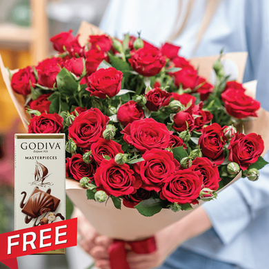 Mix Red & Spray Roses with a Free Godiva Masterpieces Bar - mabrook.me