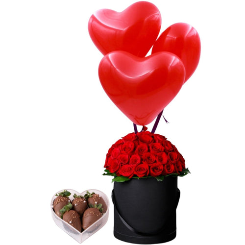 Flowers Hemisphere of Red Roses With Balloons and Strawberries - mabrook.me