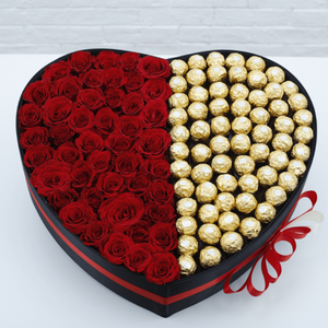 Flowers Red Roses & Ferrero Rocher is Heart - mabrook.me