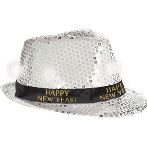 Accessories New Year's Light-Up Fedora-Silver - mabrook.me