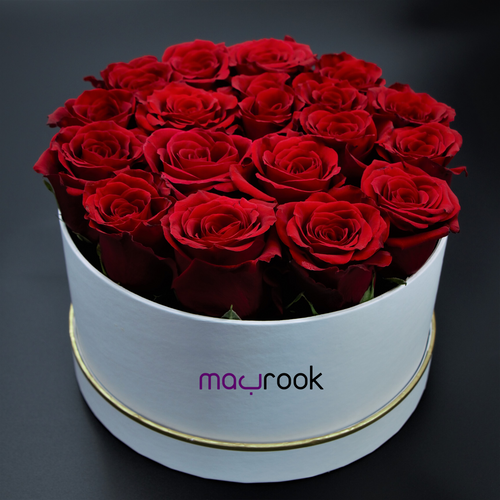 Flowers Round Box of Roses - mabrook.me
