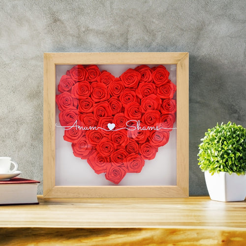 Frames In Love - Personalized Wooden Framed Rose Heart with Names - mabrook.me