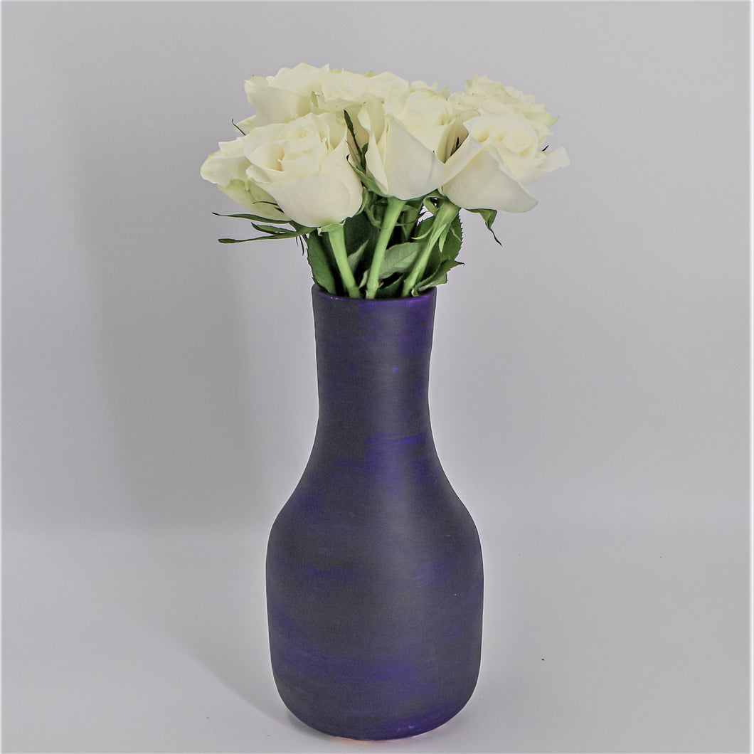 Flowers White Roses in a Painted Terracotta Vase - mabrook.me