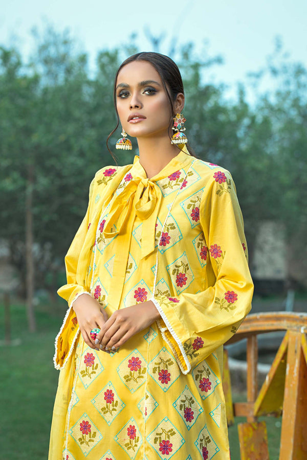 Cross Stitch Floral Embroidered Suit (3-Piece)