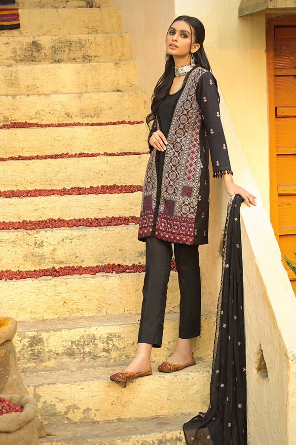 Ajrak Style Embroidered Suit (3-Piece)