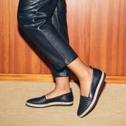 Blankens espadrille The Ibiza black braided. Made in Portugal from European leather. Affordable luxury - sustainable style!