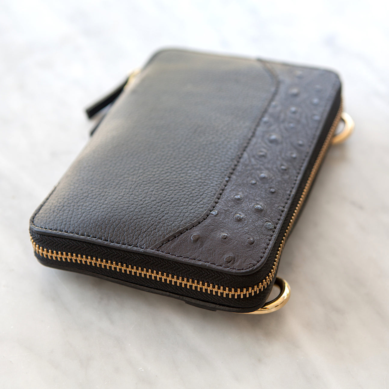 THE MONTAUK BLACK LEATHER AND OSTRICH EMBOSSED LEATHER