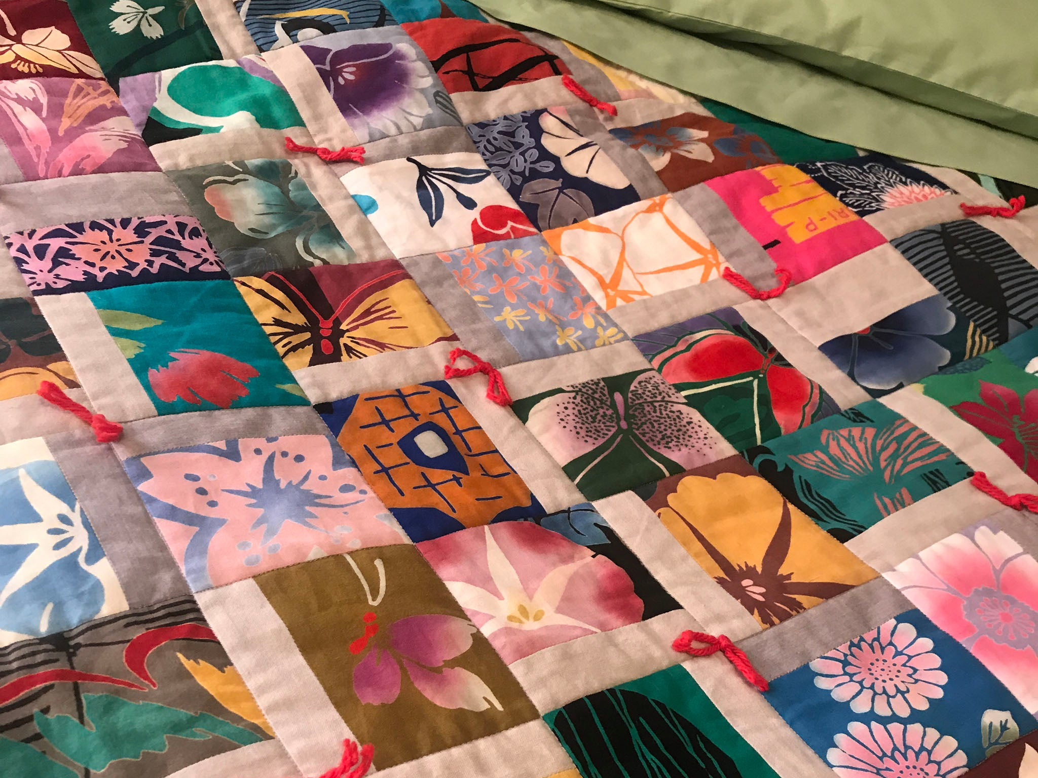 Finished Scrappy Hatchi Quilt by Patricia Belyea