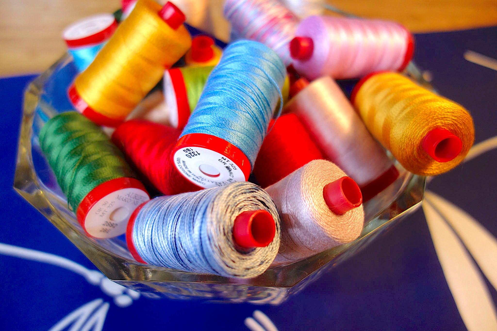 Aurifil 12wt cotton thread used in the Baby Lock Sashiko 2 sewing machine to create a Big Stitch look