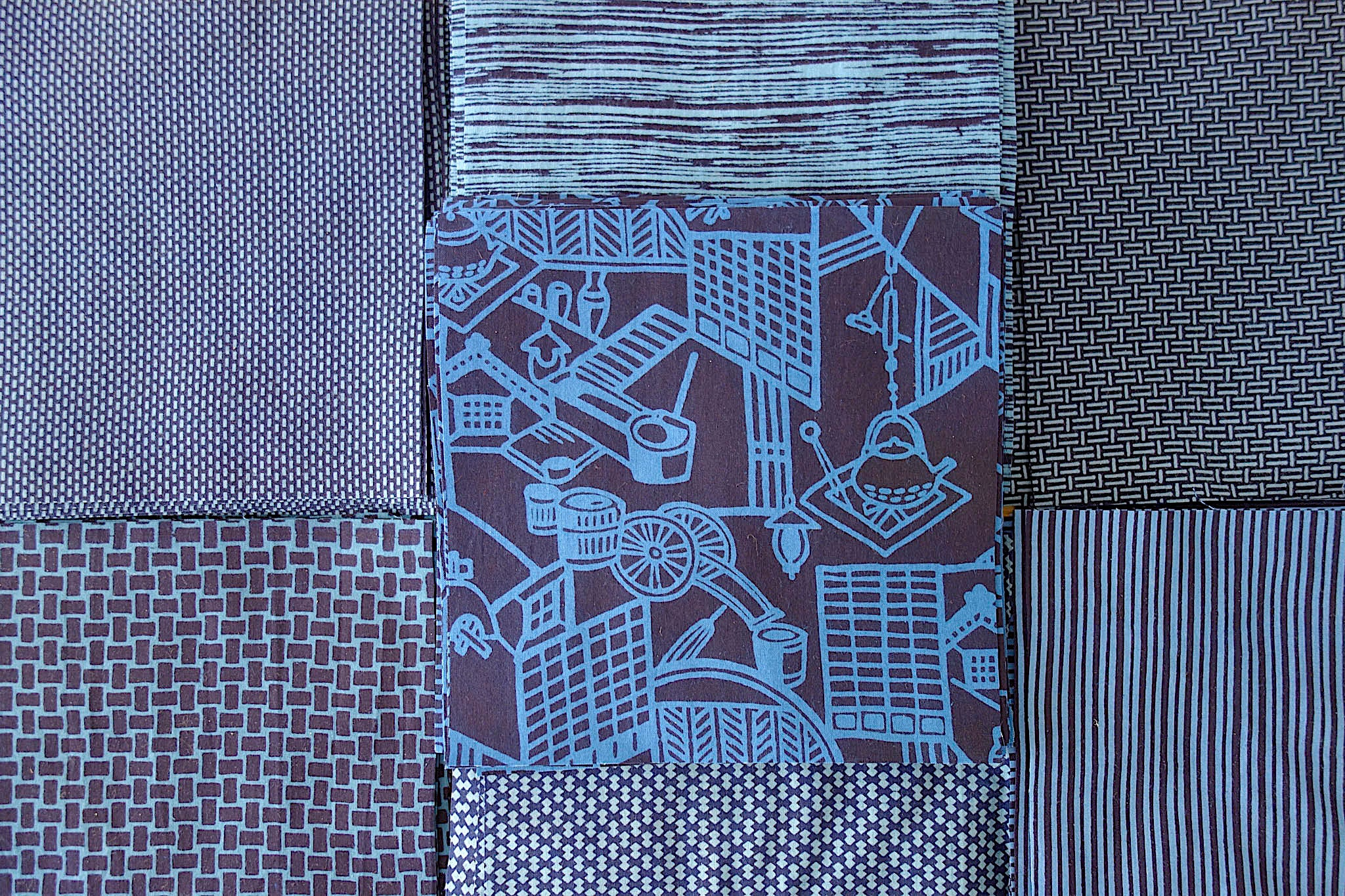 Vintage Japanese yukata cottons cut into quilt blocks for Indiglow, a king-sized quilt made by Patricia Belyea