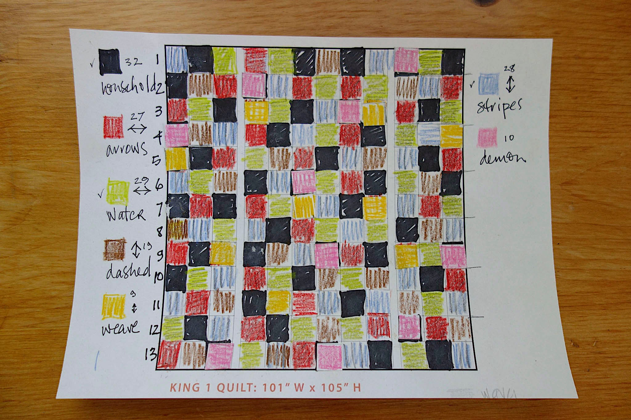 Plan for Indiglow, a king-sized quilt made by Patricia Belyea