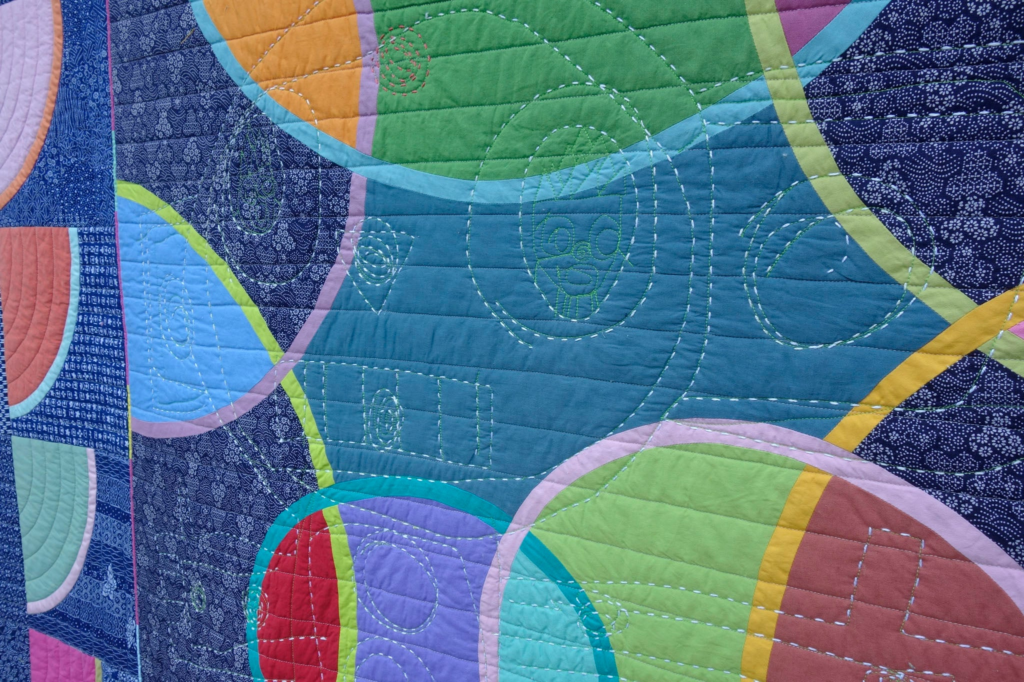 Watermelon From Mars, detail, a quilt by Patricia Belyea