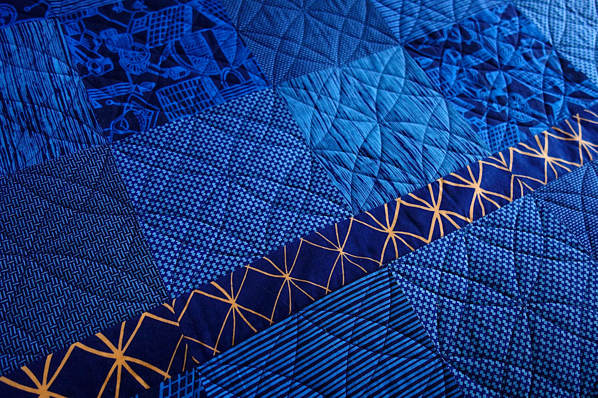 Quilting design on Indiglow, a king-size quilt by Patricia Belyea