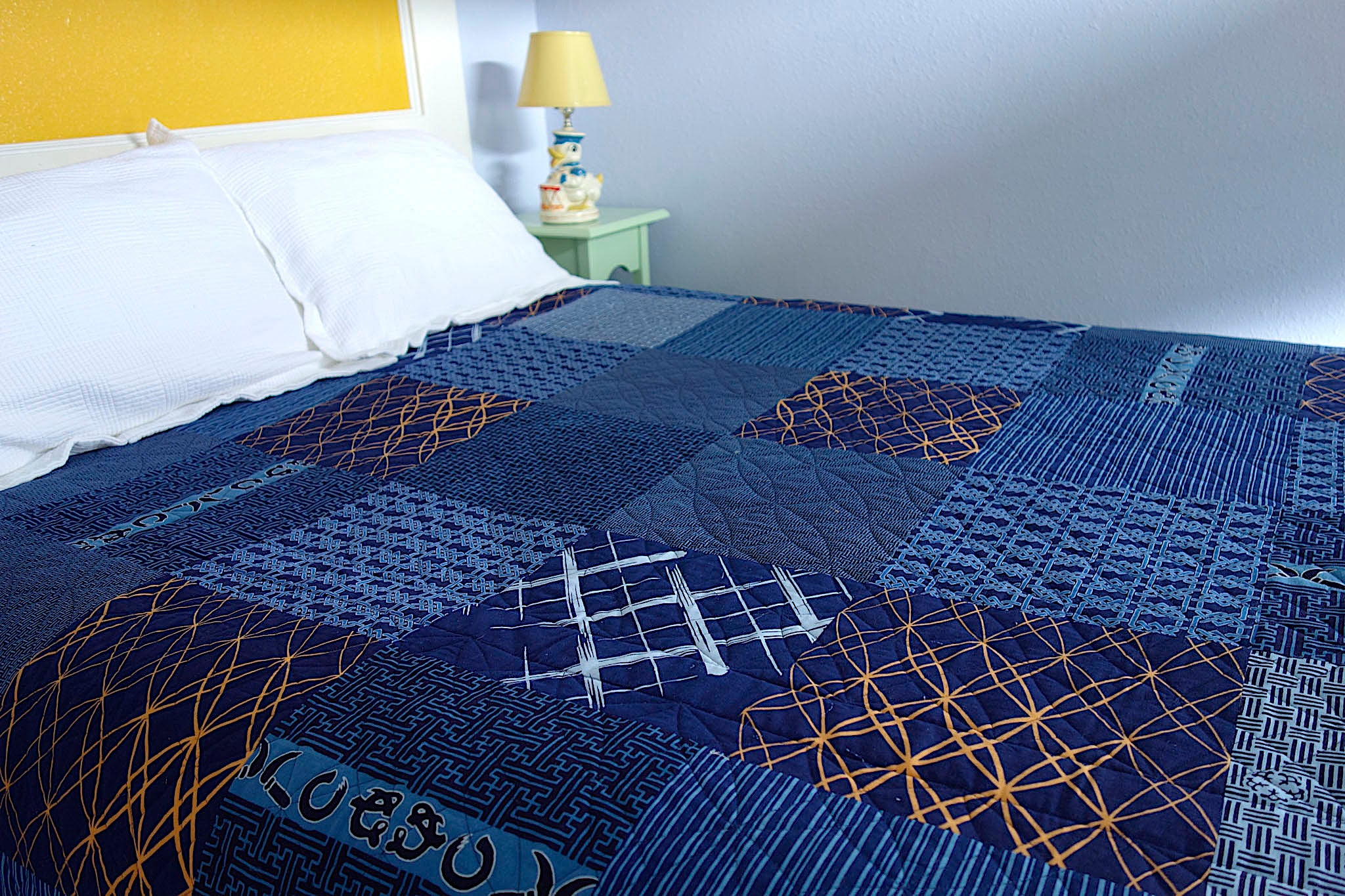 Back of Indiglow, a king-size quilt by Patricia Belyea