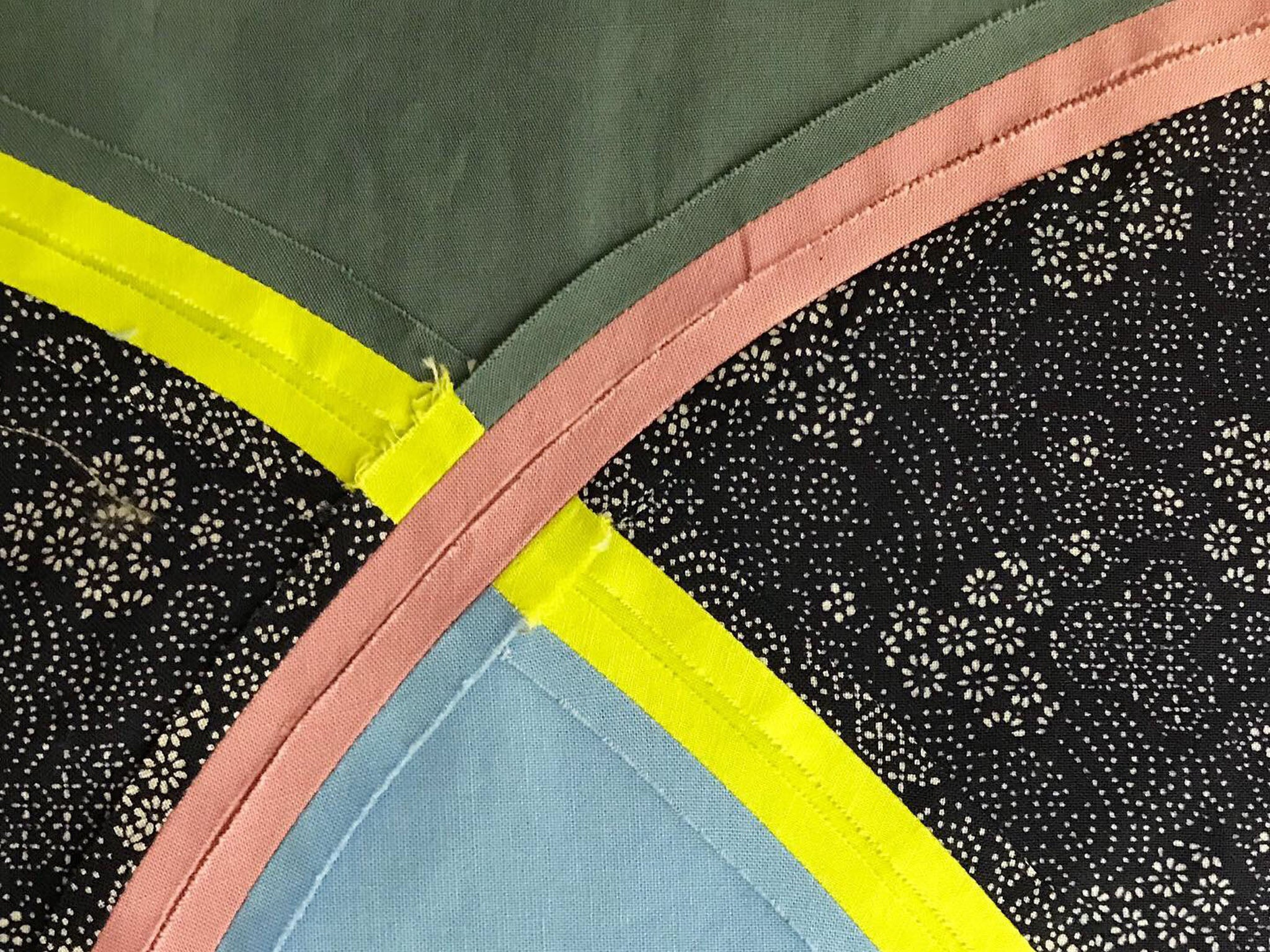 Watermelon From Mars, a quilt by Patricia Belyea, in process