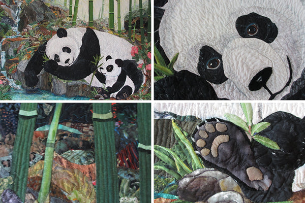 Art quilt by Kathy McNeil of pandas