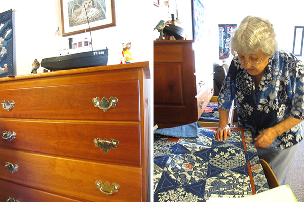 Chest of drawers filled with quilts by Kitty Pippen