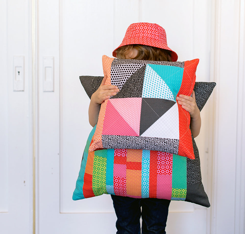 Pillows made with UPPERCASE fabrics by Janine Vangool