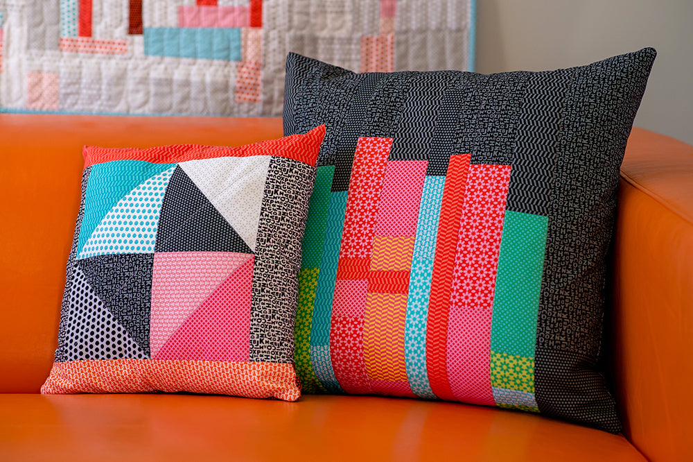 Pillows made with UPPERCASE fabrics designed by Janine Vangool