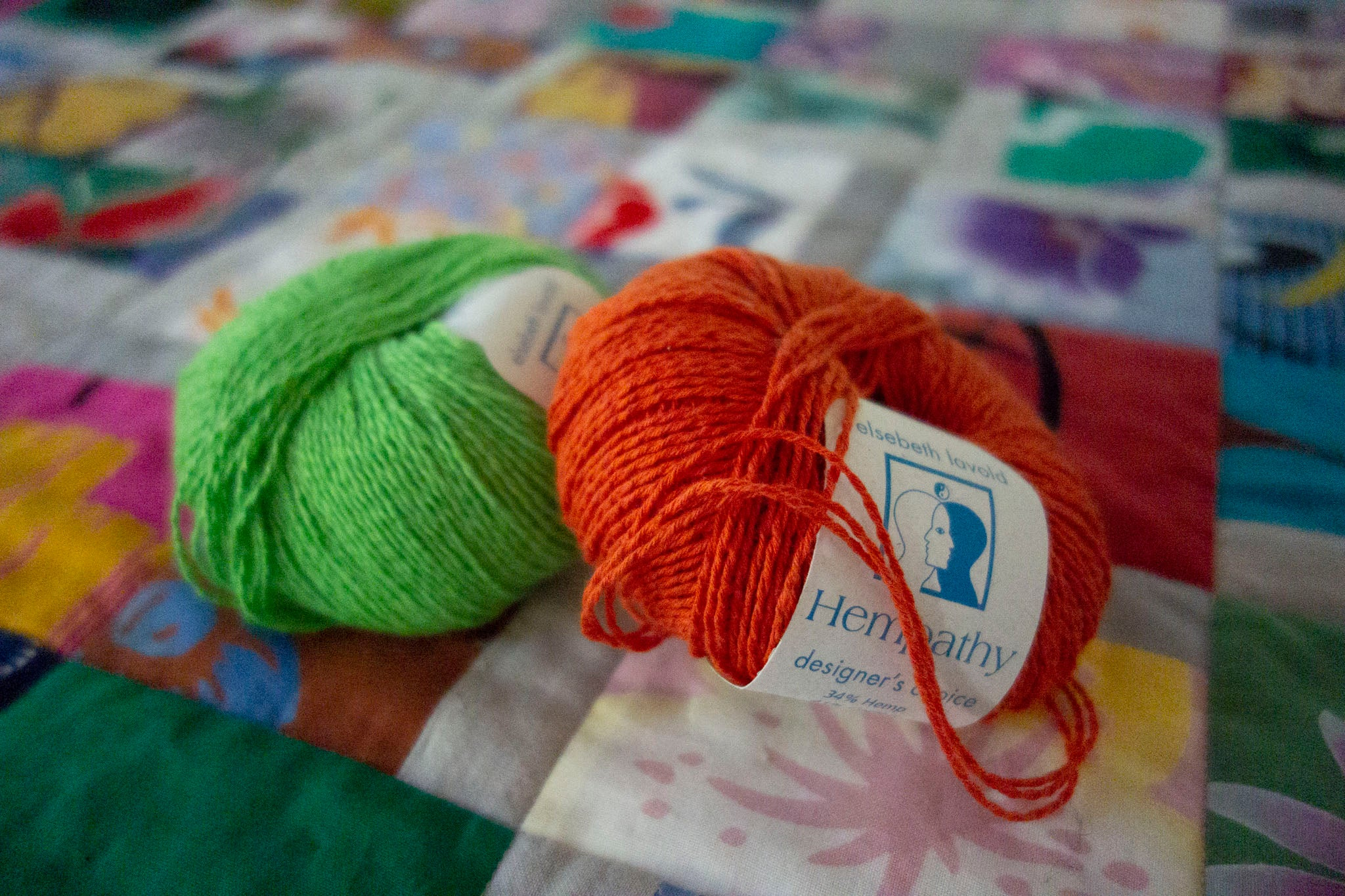 Yarn for ties for Scrappy Hatchi Quilt by Patricia Belyea