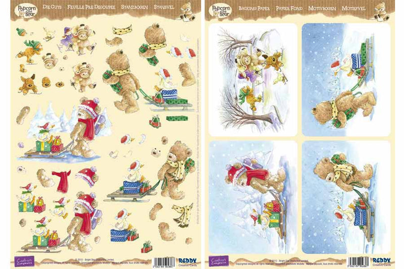3D Precut Popcorn Bear-Sled and Skiing