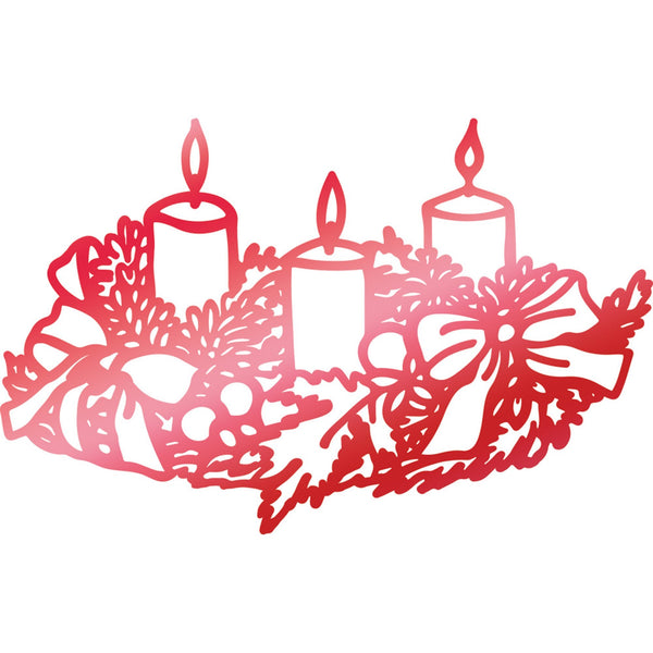 Wreathed Candles Hotfoil Stamp