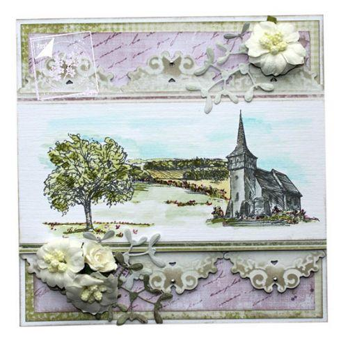 Joy Crafts Clear stamp -  church, tree, landscape