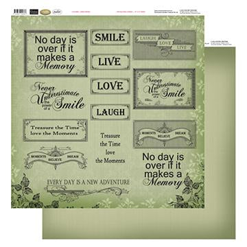 12x12 Patterned Paper  - Green Words - Vintage Rose Collection (5)