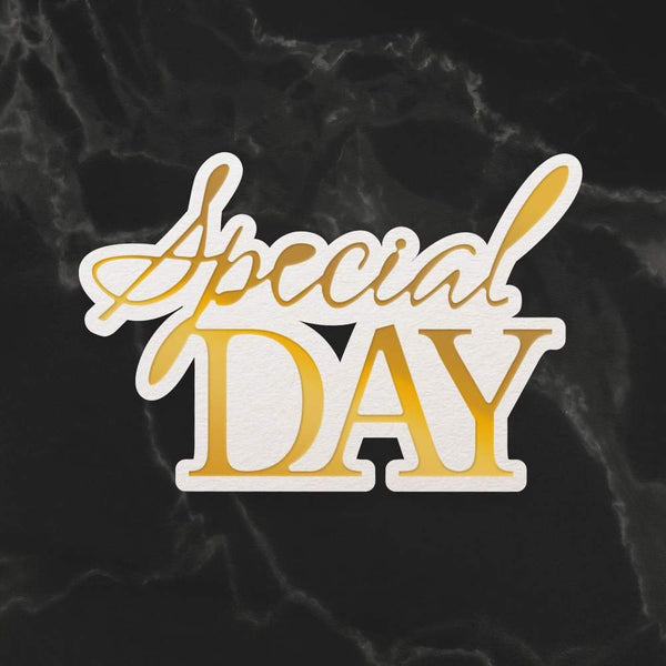 Mini Cut, Foil & Emboss Die - Dazzlia - Special Day Sentiment