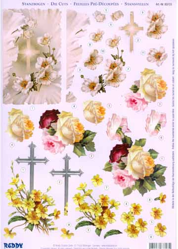 3D Precut - Flowers and Cross