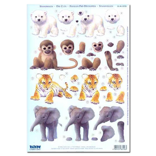 Reddy Creative Cards Die-Cut 3D Card Toppers - Baby Animals