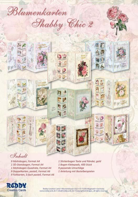 Set Flower Cards Shabby Chic 2