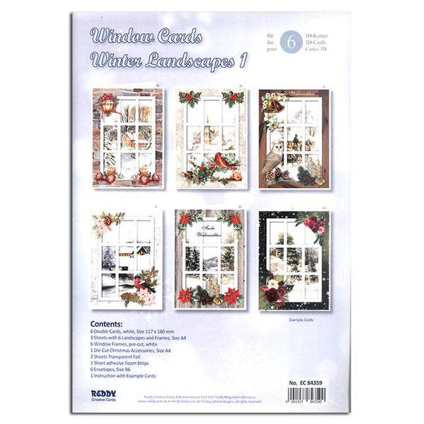 Winter Landscape / Window Card Making Kit (1)- 6 Cards