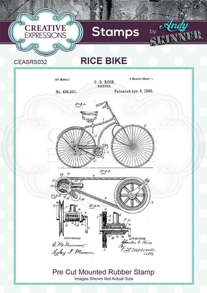 Andy Skinner Rice Bike Rubber Stamp